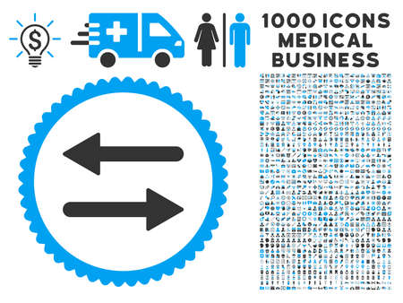 Arrows Exchange icon with 1000 medical business gray and blue vector pictographs. Collection style is flat bicolor symbols, white background. Illustration