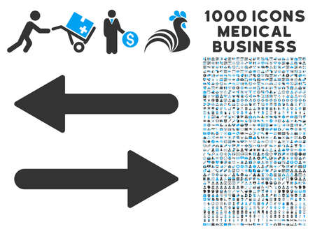 Arrows Exchange Horizontal icon with 1000 medical business gray and blue vector pictograms. Design style is flat bicolor symbols, white background.