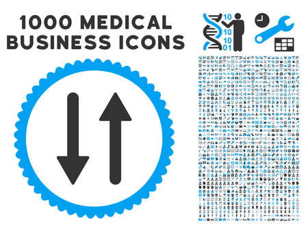 Arrows Exchange Vertical icon with 1000 medical commercial gray and blue vector pictographs. Collection style is flat bicolor symbols, white background.