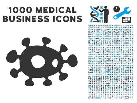 ameba: Las bacterias icono con 1000 pictogramas vector gris y azul comerciales médicas. estilo colección es bicolor símbolos planas, fondo blanco.