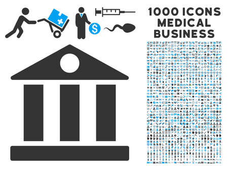 symbols commercial: Bank Building icon with 1000 medical commercial gray and blue vector pictograms. Collection style is flat bicolor symbols, white background. Illustration