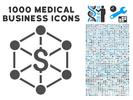 Bank Network icon with 1000 medical business gray and blue vector pictographs. Clipart style is flat bicolor symbols, white background.