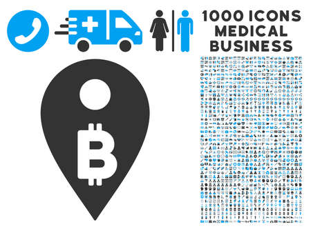 map marker: Bitcoin Map Marker icon with 1000 medical commerce gray and blue vector pictographs. Set style is flat bicolor symbols, white background. Illustration