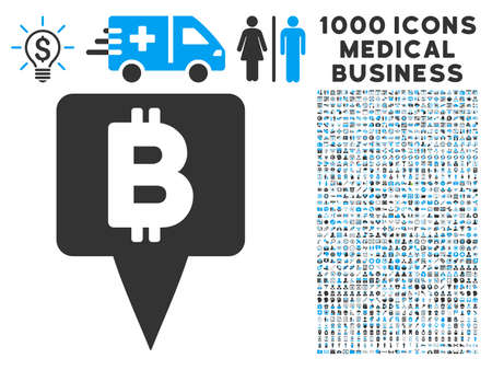financial position: Bitcoin Map Pointer icon with 1000 medical business gray and blue vector pictographs. Clipart style is flat bicolor symbols, white background.