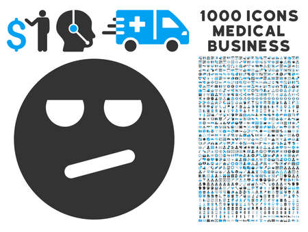 chagrin: Bored icon with 1000 medical commerce gray and blue vector pictographs. Design style is flat bicolor symbols, white background.