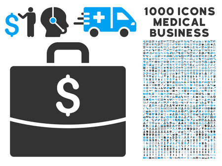 business case: Business Case icon with 1000 medical commercial gray and blue vector pictograms. Design style is flat bicolor symbols, white background.