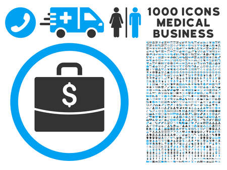 business case: Business Case icon with 1000 medical commercial gray and blue vector pictograms. Set style is flat bicolor symbols, white background.