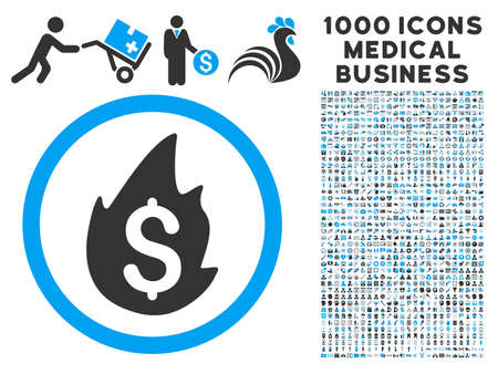 misfortune: Business Fire Disaster icon with 1000 medical commerce gray and blue vector pictographs. Set style is flat bicolor symbols, white background.