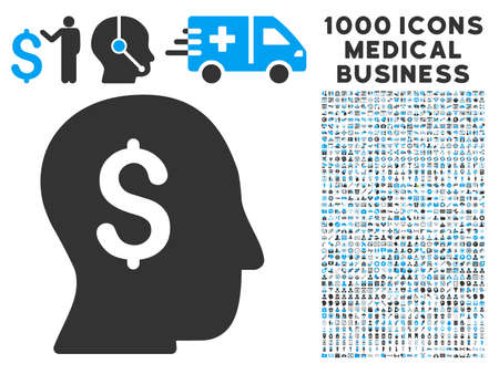 stockbroker: Businessman icon with 1000 medical commercial gray and blue vector pictograms. Collection style is flat bicolor symbols, white background.