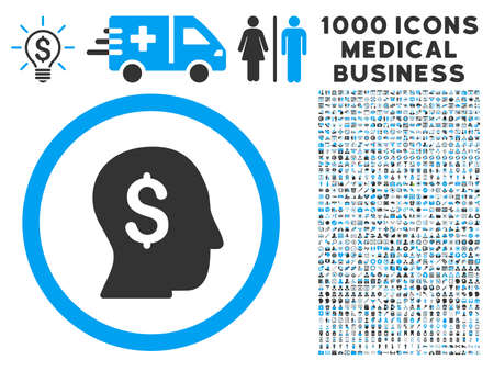 moneymaker: Businessman icon with 1000 medical commerce gray and blue vector pictograms. Design style is flat bicolor symbols, white background.