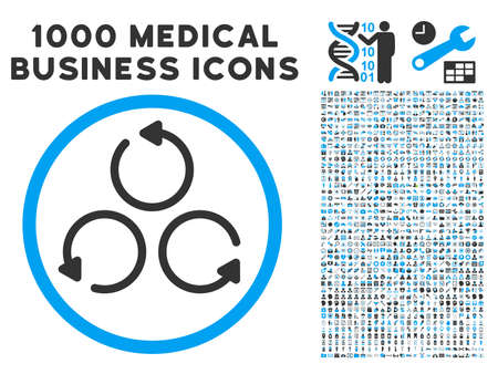 gray thread: Rotation icon with 1000 medical business gray and blue vector design elements. Design style is flat bicolor symbols, white background.