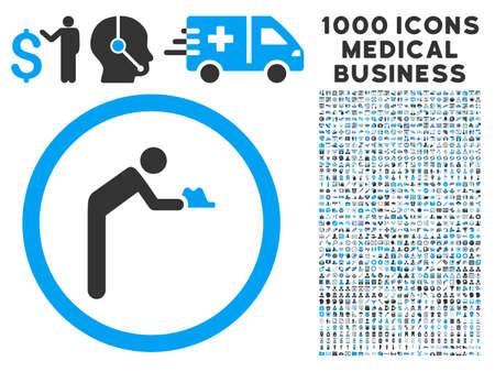 Servant icon with 1000 medical commercial gray and blue vector pictographs. Design style is flat bicolor symbols, white background.