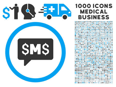 sms: SMS Message icon with 1000 medical business gray and blue vector pictographs. Collection style is flat bicolor symbols, white background.