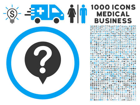 status icon: Status icon with 1000 medical business gray and blue vector pictograms. Clipart style is flat bicolor symbols, white background. Illustration