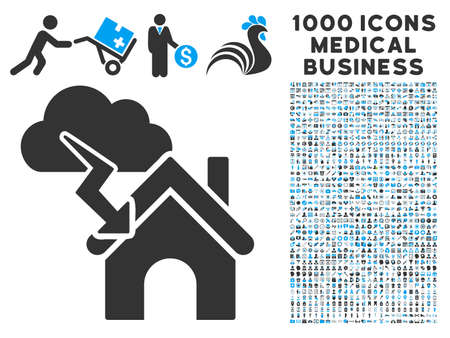 misadventure: Storm Building icon with 1000 medical commerce gray and blue vector pictograms. Set style is flat bicolor symbols, white background. Illustration