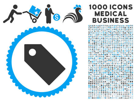 operand: Tag icon with 1000 medical business gray and blue vector pictograms. Design style is flat bicolor symbols, white background.