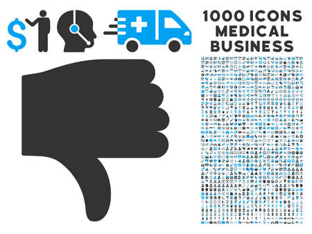 ugly gesture ugly gesture: Thumb Down icon with 1000 medical commerce gray and blue vector pictographs. Set style is flat bicolor symbols, white background. Illustration