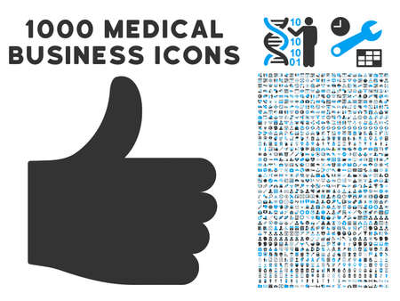 thumb up icon: Thumb Up icon with 1000 medical business gray and blue vector pictographs. Set style is flat bicolor symbols, white background.