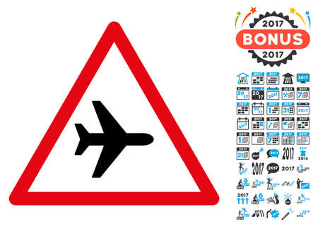 Airplane Warning icon with 2017 year bonus vector design elements. Collection style is flat symbols, white background.