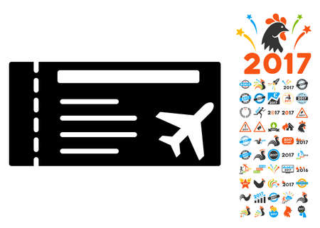 access card: Airticket icon with 2017 year bonus vector pictographs. Collection style is flat symbols, white background.