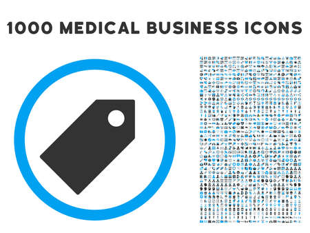 operand: Tag icon with 1000 medical commercial gray and blue vector design elements. Collection style is flat bicolor symbols, white background. Stock Photo