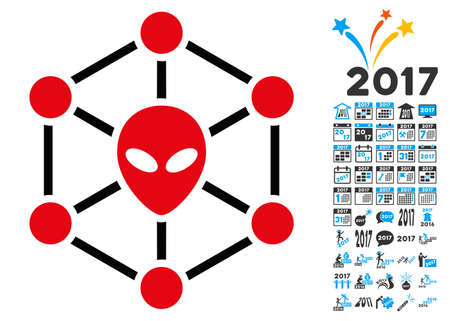 Alien Network icon with 2017 year bonus vector design elements. Set style is flat symbols, white background.
