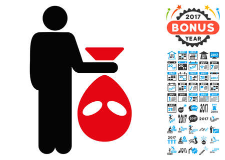 invader: Alien Scalp icon with 2017 year bonus vector pictographs. Set style is flat symbols, white background. Illustration