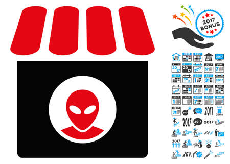 Alien Shop icon with 2017 year bonus vector design elements. Design style is flat symbols, white background.