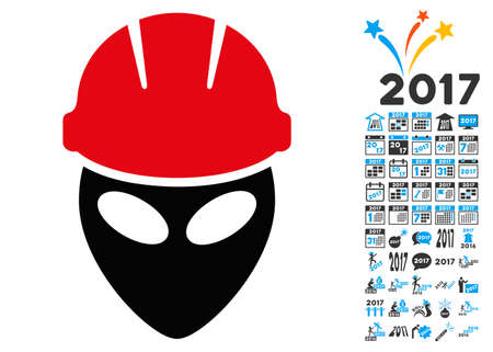 Alien Worker icon with 2017 year bonus vector design elements. Set style is flat symbols, white background. Illustration