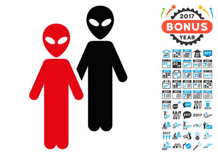 space invaders game: Aliens icon with 2017 year bonus vector design elements. Design style is flat symbols, white background. Illustration