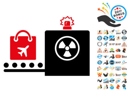 screening: Baggage Screening icon with 2017 year bonus vector pictograms. Design style is flat symbols, white background. Illustration
