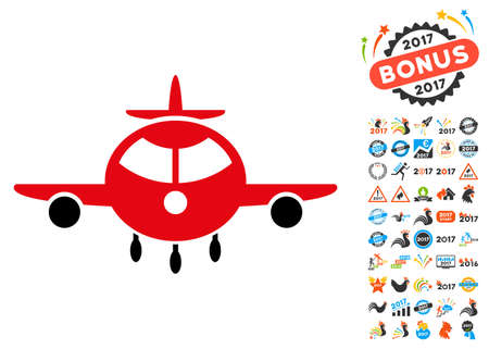 Cargo Plane icon with 2017 year bonus vector design elements. Clipart style is flat symbols, white background. Illustration