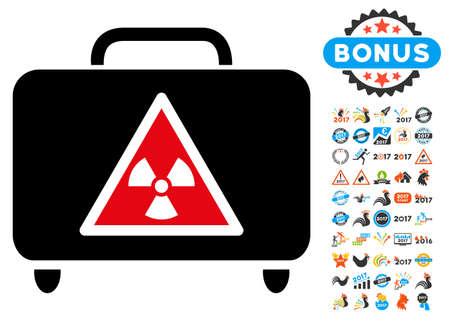 Dangerous Luggage icon with 2017 year bonus vector pictographs. Set style is flat symbols, white background.