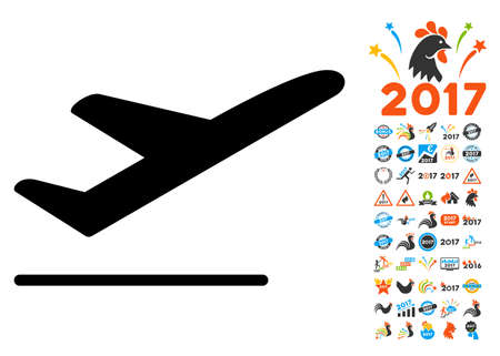 airways: Departure icon with 2017 year bonus vector pictograms. Collection style is flat symbols, white background.