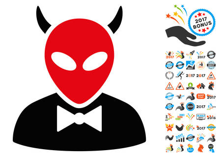 fearsome: Devil icon with 2017 year bonus vector pictograms. Clipart style is flat symbols, white background.