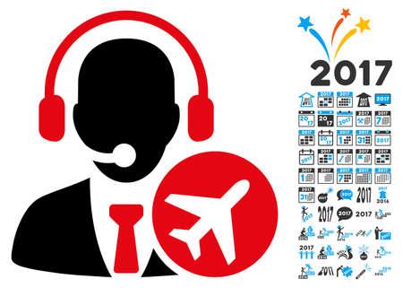 dispatcher: Dispatcher icon with 2017 year bonus vector design elements. Set style is flat symbols, white background. Illustration