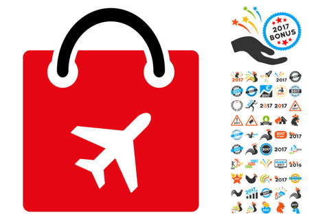 duty: Duty Free icon with 2017 year bonus vector design elements. Clipart style is flat symbols, white background.