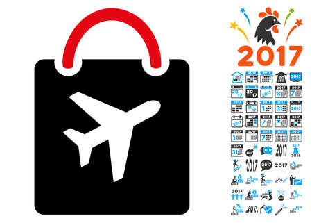 duty: Duty Free Bag icon with 2017 year bonus vector design elements. Clipart style is flat symbols, white background. Illustration