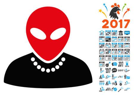 Humanoid icon with 2017 year bonus vector pictograms. Design style is flat symbols, white background.