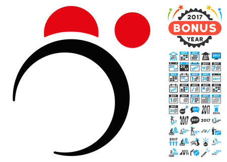 Planet System icon with 2017 year bonus vector design elements. Clipart style is flat symbols, white background.