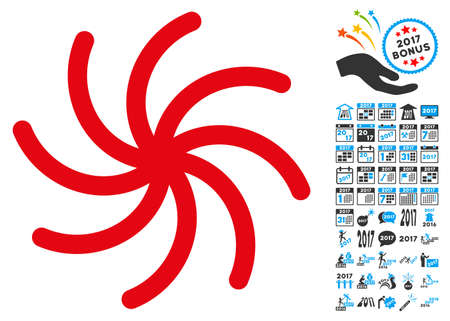 Spiral icon with 2017 year bonus vector pictographs. Set style is flat symbols, white background.