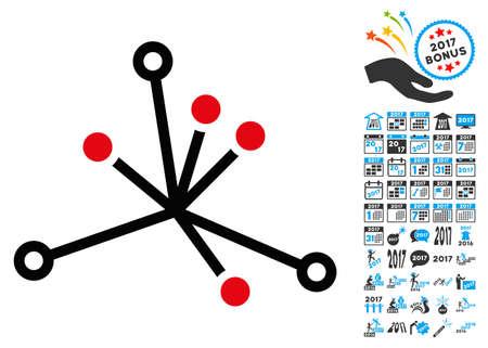 icono Boom mundo con pictogramas bono vector 2017 año. estilo colección es símbolos planas, fondo blanco.