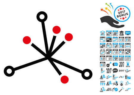 World Boom icon with 2017 year bonus vector pictographs. Collection style is flat symbols, white background.