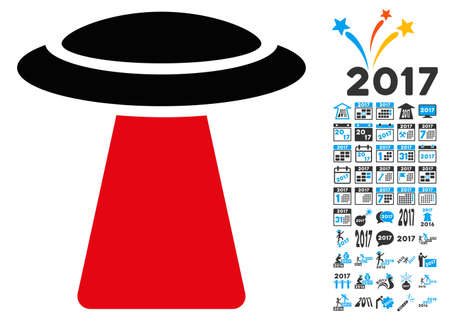 invasion: Ufo Ray icon with 2017 year bonus vector design elements. Design style is flat symbols, white background.