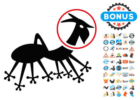 invader: Alien Creature Skafandr icon with 2017 year bonus glyph design elements. Collection style is flat symbols, white background. Stock Photo