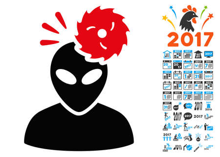 Alien Exploration icon with 2017 year bonus glyph pictographs. Set style is flat symbols, white background.