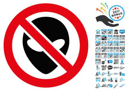 Forbidden Alien icon with 2017 year bonus glyph pictographs. Set style is flat symbols, white background.