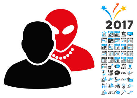 Human Alien Contacts icon with 2017 year bonus glyph pictographs. Collection style is flat symbols, white background. Stock Photo