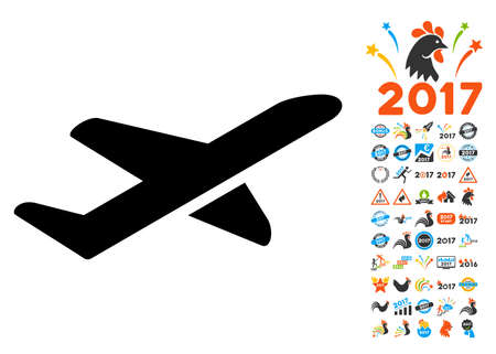 takeoff: Takeoff icon with 2017 year bonus glyph pictograms. Collection style is flat symbols, white background.