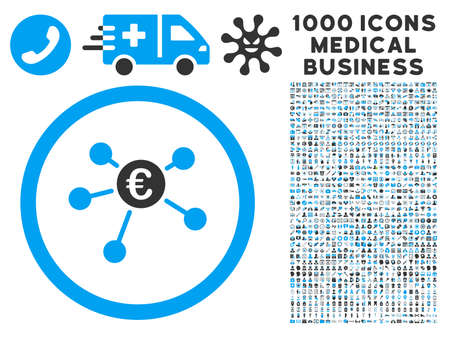 symbols commercial: Euro Payments icon with 1000 medical commercial gray and blue vector pictographs. Design style is flat bicolor symbols, white background.